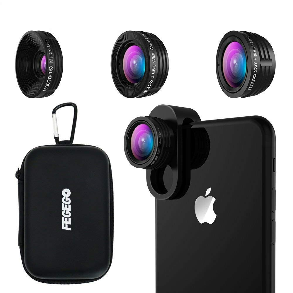 7139a5d6b1ff88 FEGEGO Phone Camera Lens Kit,0.65X Wide Angle Lens+ 230° Fisheye Lens + 15X  Macro Lens,Clip-On Cell Phone Camera Lenses for iPhone XR/XS/ XS MAX/X/ 8 7  6 ...