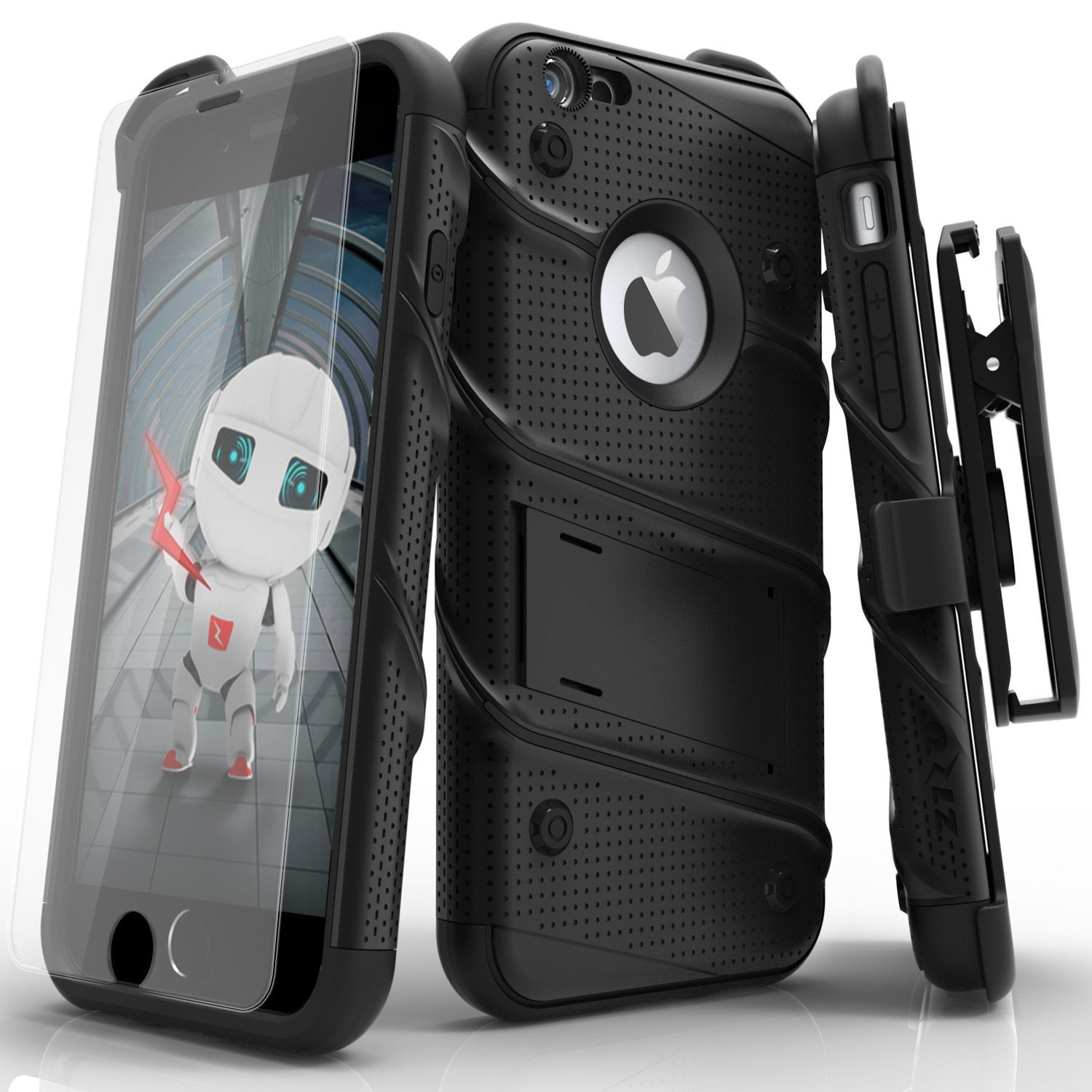 85f310a08b52 iPhone 6s Case, Zizo [Bolt Series] with [iPhone 6s Screen Protector]  Kickstand [Military Grade Drop Tested] Holster Belt Clip - iPhone 6 / 6s -  BIG nano ...