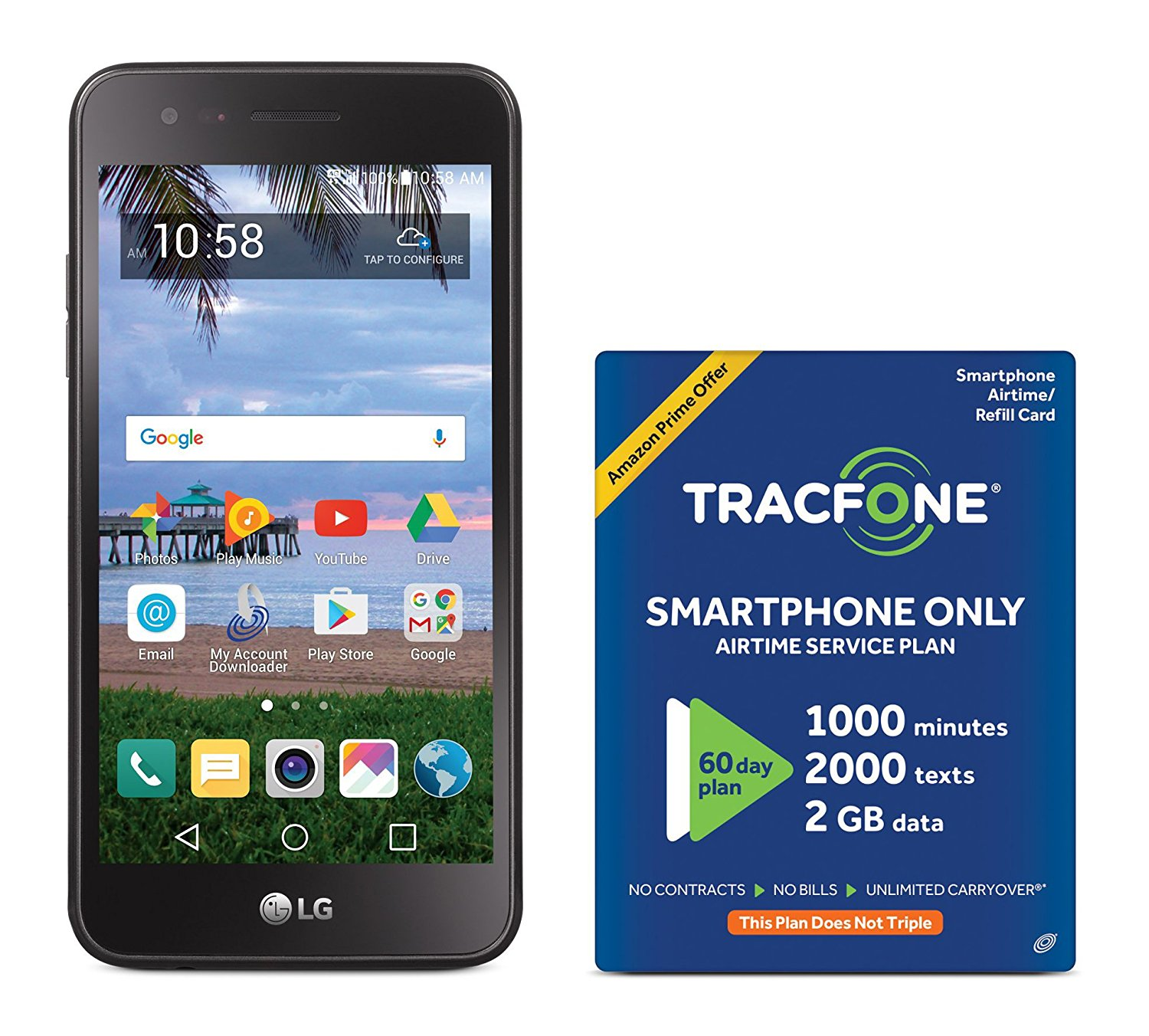 huge selection of d6300 1f72b TracFone LG Rebel 2 4G LTE Prepaid Smartphone with Amazon Exclusive ...