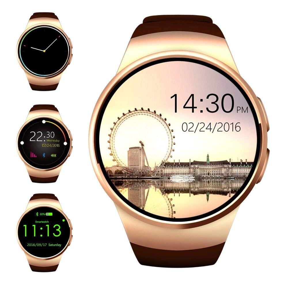 Smart Watch,Evershop 1 5 inches IPS Round Touch Screen Smartwatch SIM Card  TF Card Slot Sleep Monitor, Heart Rate Monitor Pedometer iOS Android(Gold)