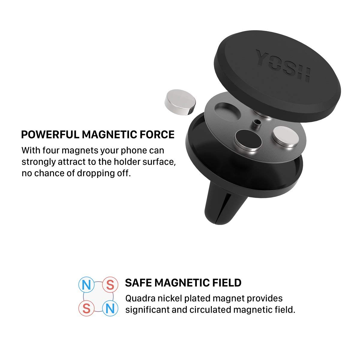 YOSH Magnetic Vent Mount Universal Car Phone Mount Magnets Phone Car Mount  Holder Vent Car Cradle Compatible for iPhone Xs MAX/XS/XR/X/8/7/6/6S Plus