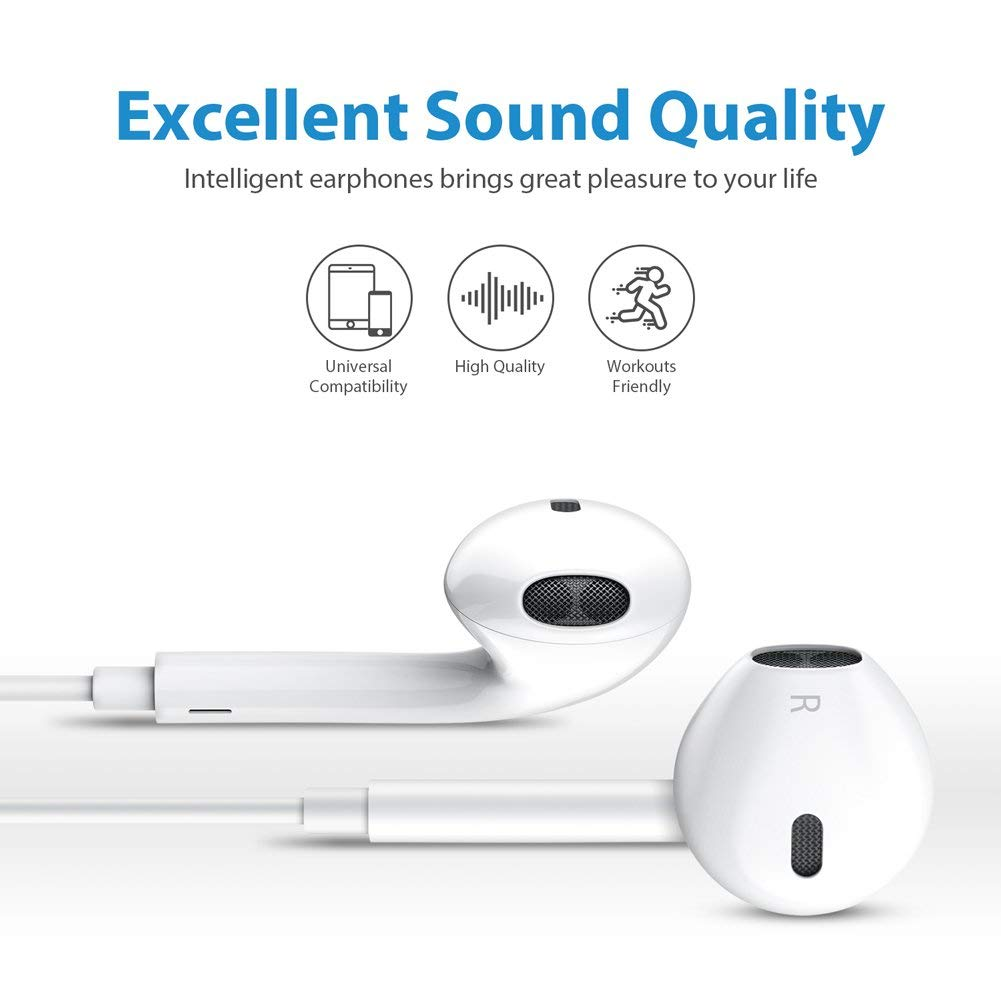 2 Pack Headphones Earbuds Earphones to 3 5mm Compatible with iPhone iPad  iPod Stereo Earphone Wired Noise Isolating with Mic and Remote Control