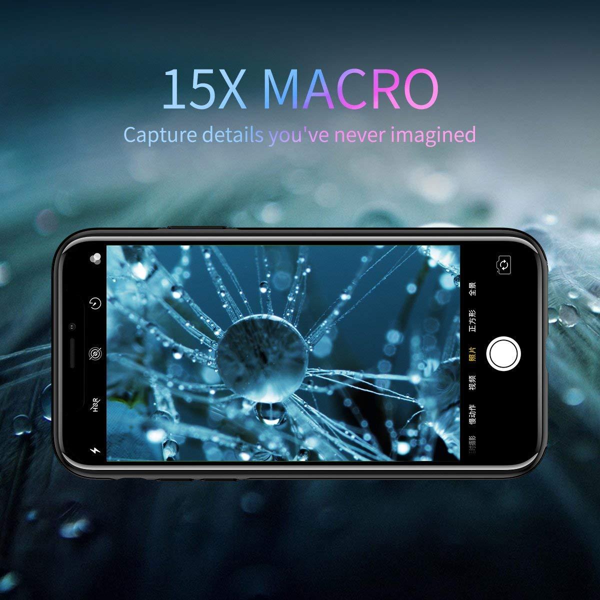 check out 2b1b9 b3a50 iPhone X Lens, 4K HD [0.65X] Wide Angle, 15X Macro, 180° Fisheye Camera  Lenses Kit 3-in-1, Portable iPhonex Lens Kit for Apple iPhone 10 ONLY, Easy  ...