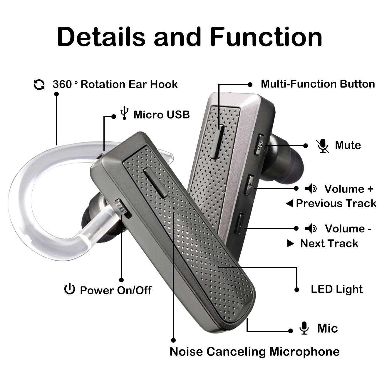 BRNBW Q5 Bluetooth Headset V4.2, Hands Free Noise