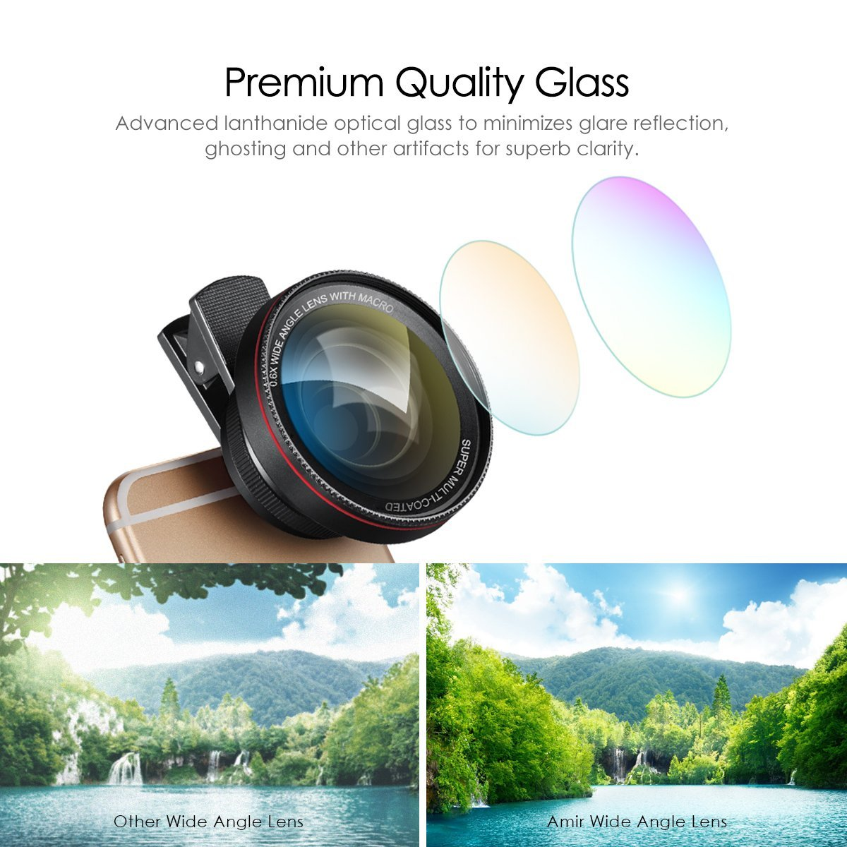 promo code f0f36 a834c AMIR Phone Camera Lens, 0.6X Super Wide Angle Lens + 15X Macro Lens for  iPhone Lens Kit, 2 in 1 Clip-On Cell Phone Camera Lens for iPhone 8, X, 7,  7 ...