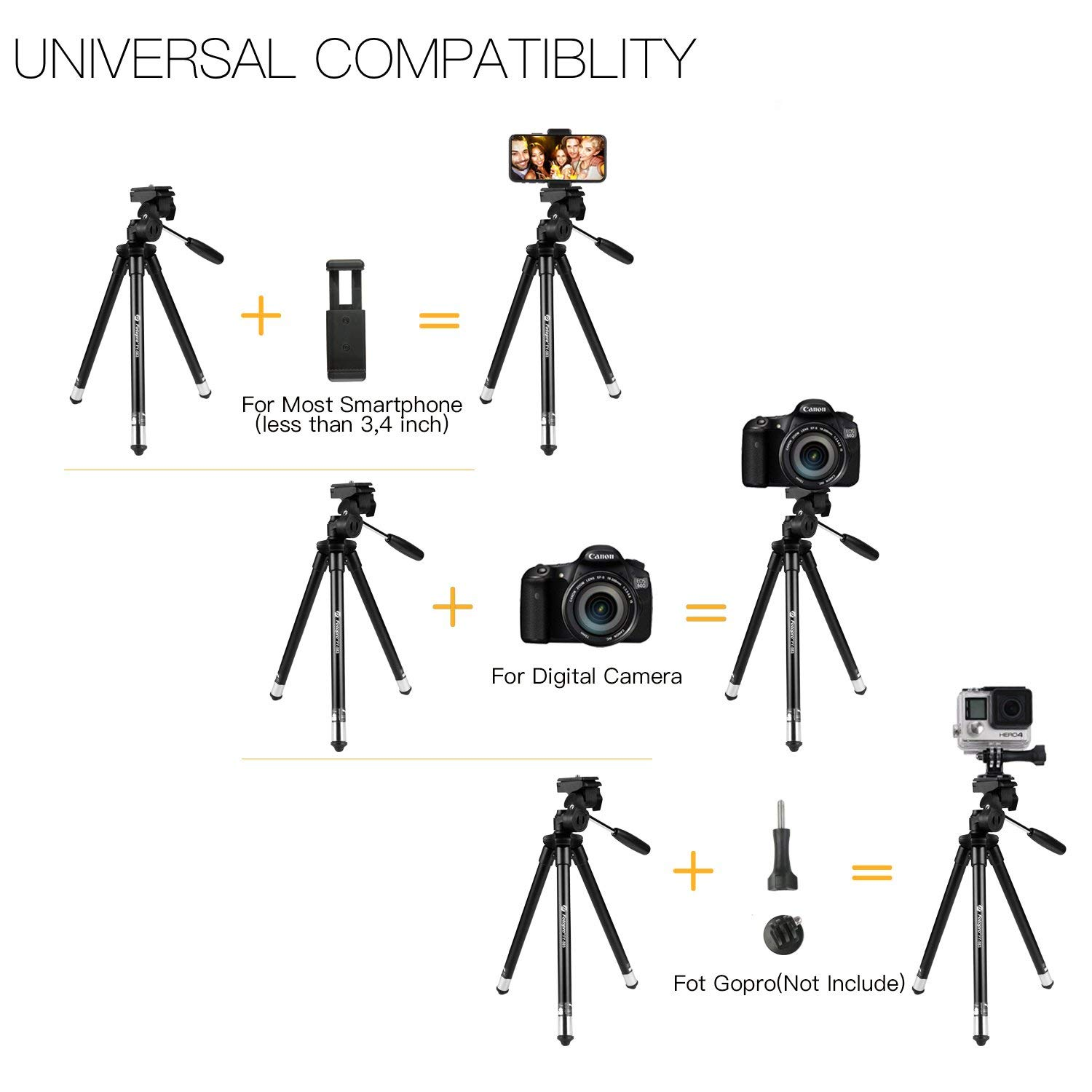 Fotopro Phone Tripod, 39 5 Inch Aluminum Camera Tripod with Bluetooth  Remote Control and Bag for iPhone 8/Plus,Samsung, Huawei,Gopro  6/5/4,Nikon,Canon