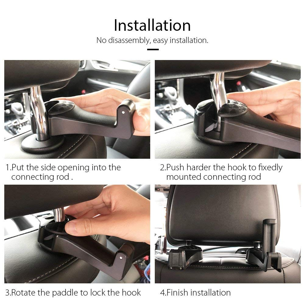 Beige 2 Pack Car Hooks Car Seat Back Hooks with Phone Holder Universal Vehicle Car Headrest Hooks Hanger with Lock and Phone Bracket for Holding Phones and Hanging Bag Cloth Purse Grocery-