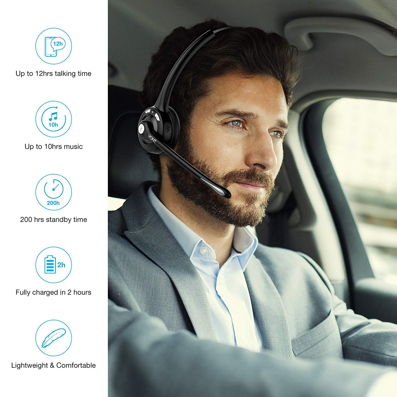 Bluetooth Headset With Microphone, Wireless Office Headset