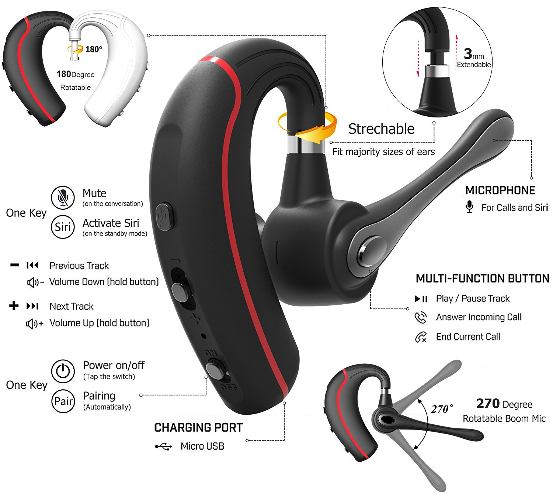 Bluetooth Headset, HandsFree Wireless Earpiece V4.1 With