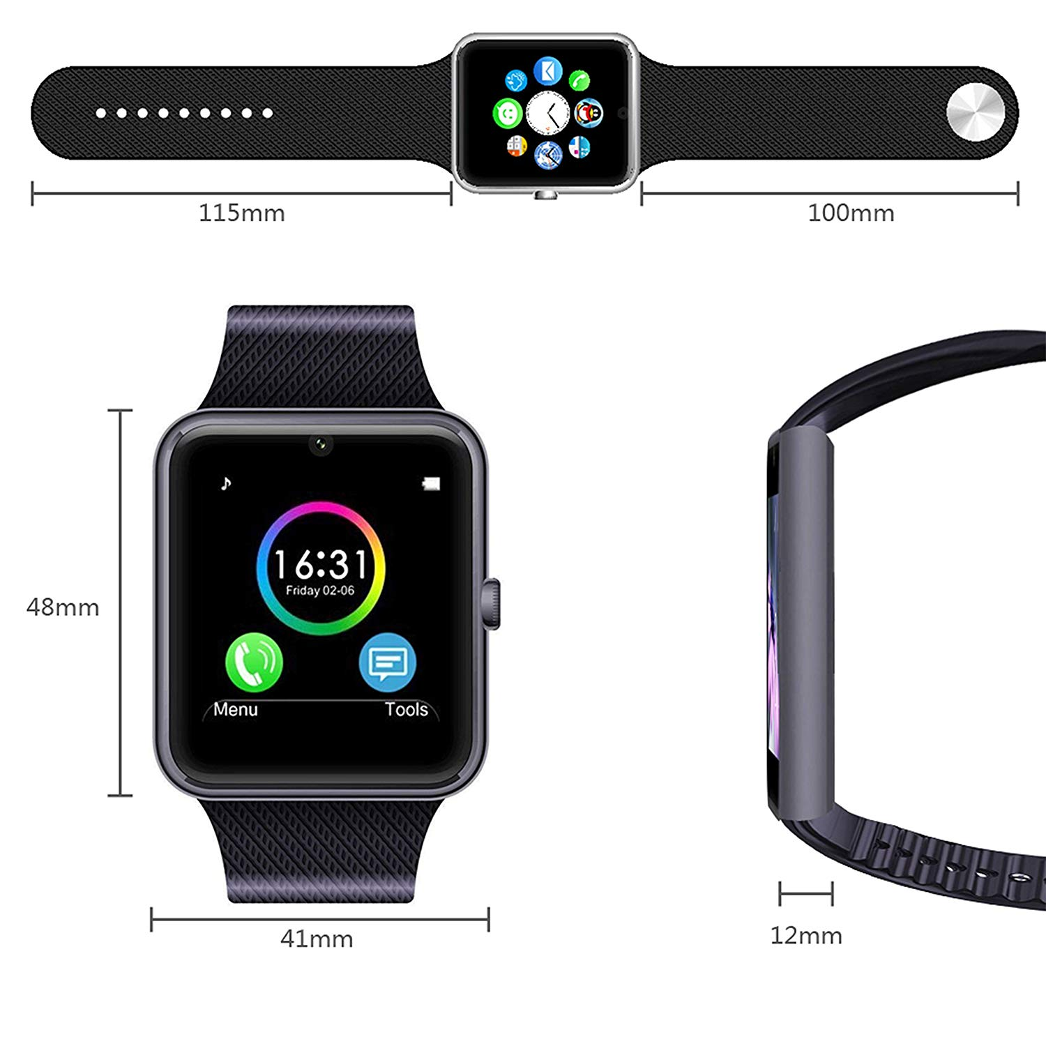 8eb8f42b9dc MSRM Smart Watch Water Resistant Smart Watch Anti Lost and Pedometer  Fitness Tracker for Android 4.3 above and Iphone 5s 6 6s 7 7s ...
