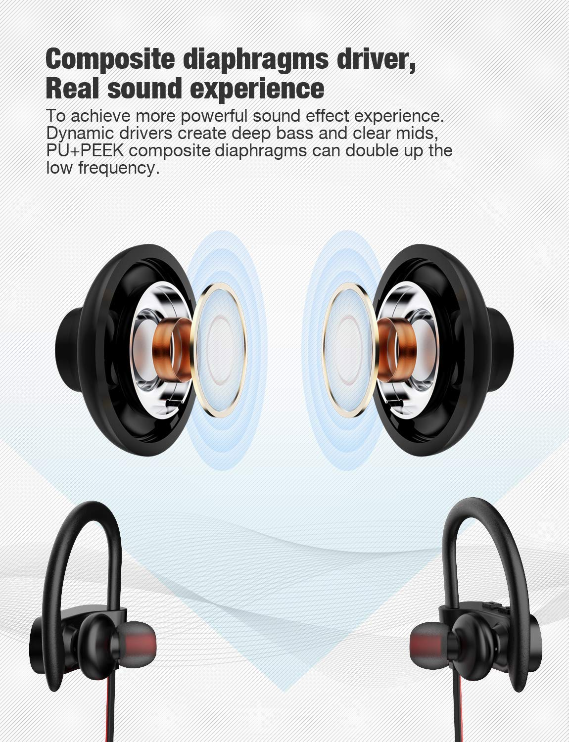 Bluetooth Headphones, Otium Best Wireless Sports Earphones w/Mic IPX7  Waterproof HD Stereo Sweatproof in Ear Earbuds for Gym Running Workout 8  Hour