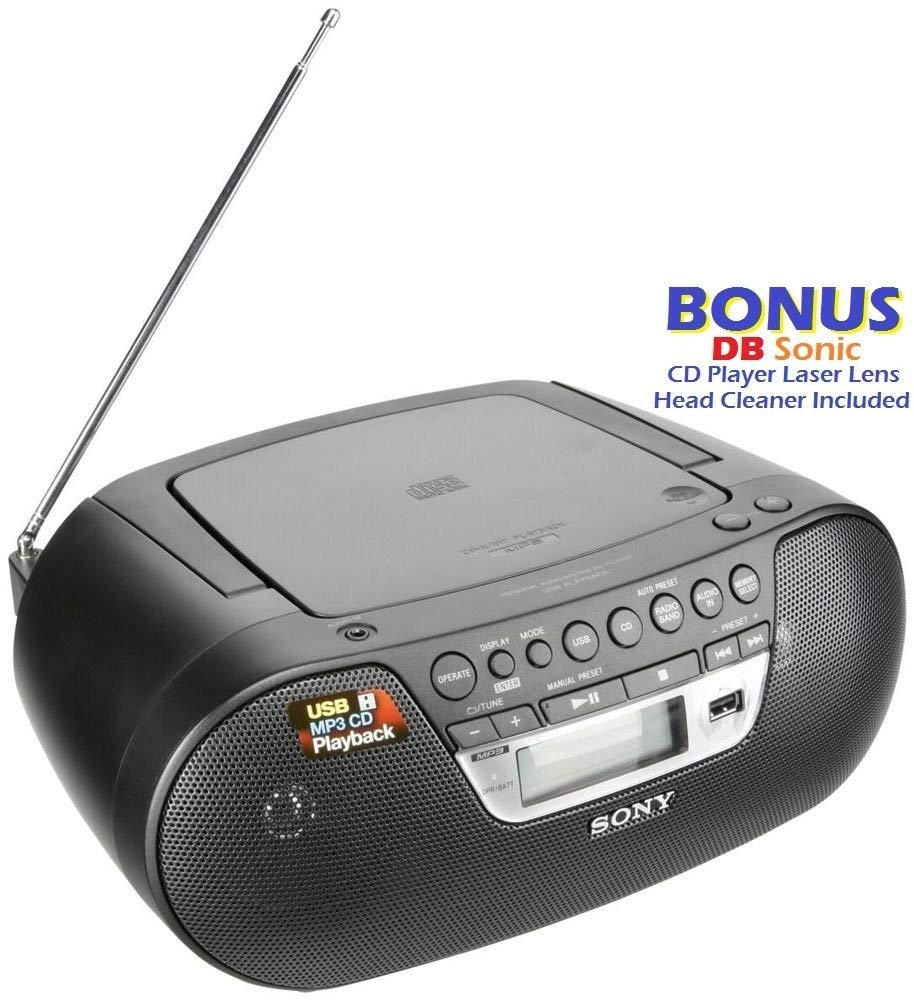 Sony Portable Full Range Stereo Boombox Sound System with MP3 CD Player,  AM/FM Radio, 30 Presets, Headphone and AUX Jack - Bonus DB Sonic CD Head